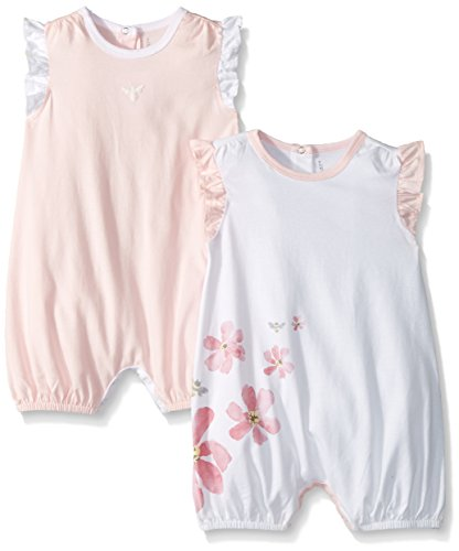 y Girls Rompers, Set of 2 Bubbles, One Piece Jumpsuits, 100% Organic Cotton, Blossom Flowers/Bee, 3-6 Months ()