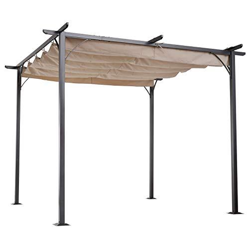 MRT SUPPLY 10' Retractable Awning Cover Modern Archway Sun Shade Steel Pergola with Ebook