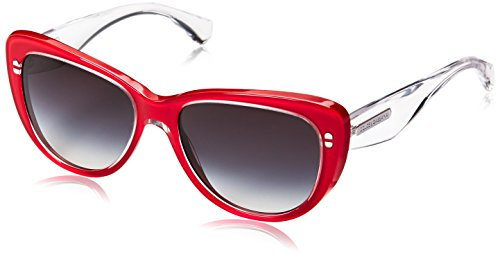 D&G Dolce & Gabbana Women's 3 Layers Cateye Sunglasses,Top Crystal & Pearl Red,55 - D&g 2014 Sunglasses