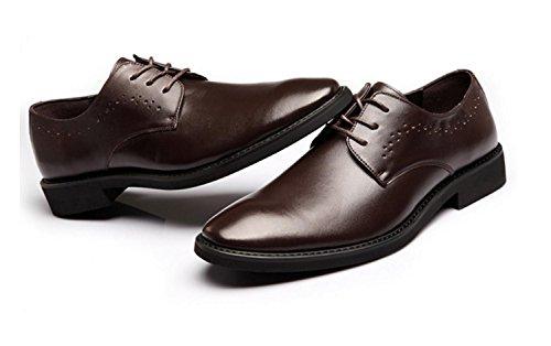 WZG los zapatos de los nuevos hombres señalaron los zapatos de vestir de negocios, zapatos casuales zapatos de vestir de los hombres de superficie suave zapatos zapatos de encaje de la boda Brown