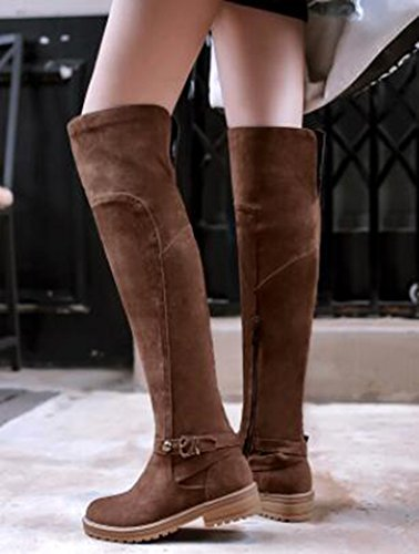 IDIFU Womens Fashion Low Chunky Heels Faux Suede Pull On Above Knee High Boots With Zipper Brown ONHfXuw02z