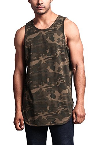 Mens Camouflage Tank Top - Victorious Solid Color Long Length Curved Hem Tank Top TT47 - Olive CAMO - Large - A4D