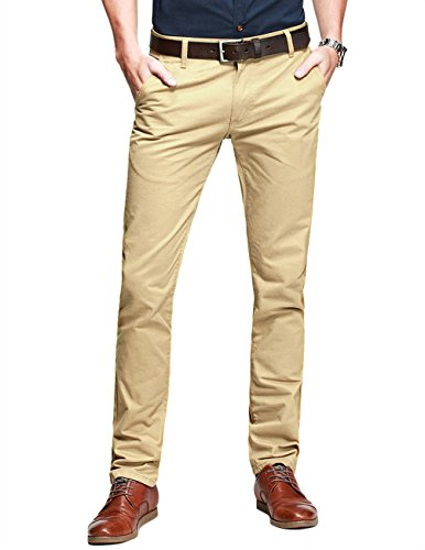 Match Mens Slim-Tapered Flat-Front Casual Pants(8110 Khaki,34W x 31L)