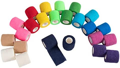 Bandage Wraps - 24-Pack Self Adherent Wraps, Self Adhesive Gauze Roll, Cohesive Tape, Medical Tape, First Aid Supplies for Sports, Wrist, Ankle, 2 Inches x 5 Yards