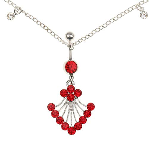 (Crystal Dangle Belly Bar Navel Ring Button Bar Waist Chain Jewelry Gift 3 Colors (Color - Red))