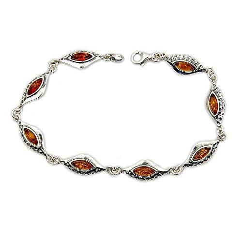 - Flames Of Desire' Sterling Silver Natural Baltic Amber Bracelet, 7.5