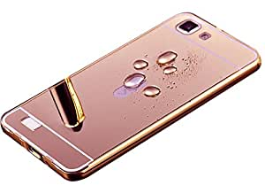 Aart Luxury Metal Bumper + Acrylic Mirror Back Cover Case For VivoV1 RoseGold By Aart store