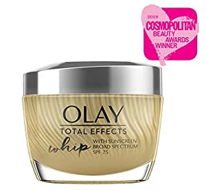 Olay Total Effects Whip Light Face Moisturizer SPF 25 with Vitamins C, E, B3 & B5 for Even Skin Tone, 1.7 Oz