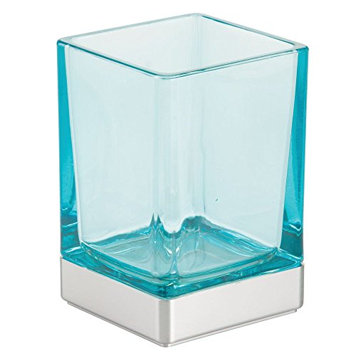 InterDesign Casilla Tumbler Cup for Bathroom Vanity Countertops Brushed Nickel, Blue