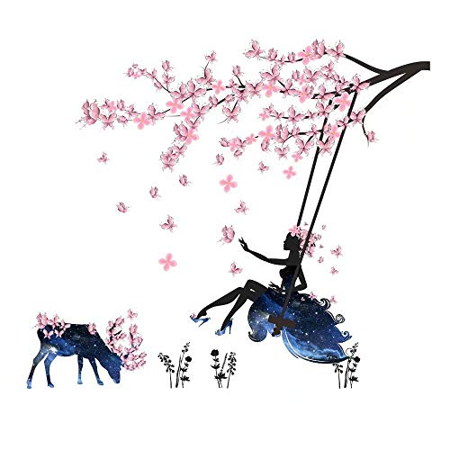Flower Fairy Girl Swing Deer DIY PVC Wall Stickers Removable for Girl Room Nursery Bedroom Wall Decor Self-Adhesive Plum Blossom Blue Elf Mural Decal