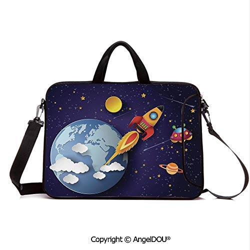 AngelDOU Laptop Shoulder Bag Waterproof Neoprene Computer Case Rocket on Planetary System with Earth Stars UFO Saturn Sun Galaxy Boys Print with Handle Adjustable Shoulder Strap and External Side Po