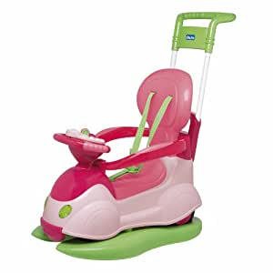Chicco 67068100000 Quattro Girl - Correpasillos convertible en balancín, color rosa