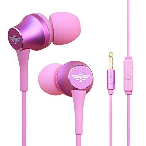 Mp3 Earbud Earphone (In-Ear Headphones Earbuds with Mic Controller Case, Sport Running Gym Exercise Sweatproof Music Bose Wired Earphones, For IPhone IPad Android Smartphones Mp3 Mp4 Player Tablet Kids (Pink))