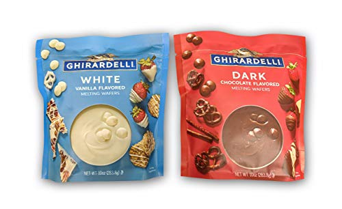 Ghirardelli Melting Wafers Variety Pack with Ghirardelli White Chocolate Melting Wafers and Ghirardelli Dark Chocolate Melting Wafers. One Stop Shopping for the Best Tasting Melting Chocolate Wafers. (Best Chocolate For Melting Into Molds)