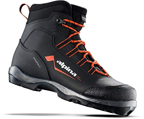 Alpina Sports Snowfield Backcountry Cross Country Nordic Touring Ski Boots, Black/Orange/White, Euro 43