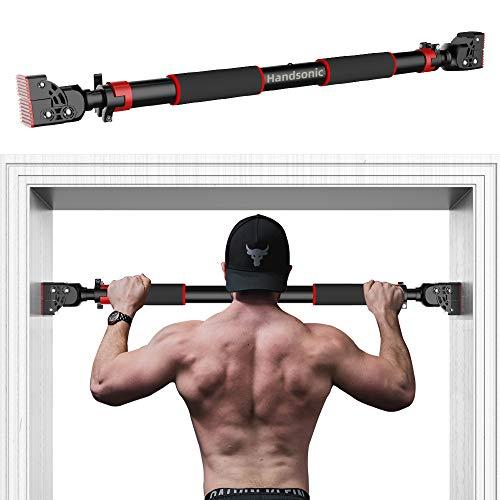 HANDSONIC Pull Up Bar voor Deuropening, Geen Schroeven Chin Up Bar Verstelbare Dip Bars voor Thuis Gym Oefening Fitness…