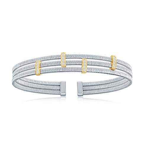 (Sterling Silver Italian Triple Wire Design with Gold Plating Bars Cubic Zirconia Desginers)