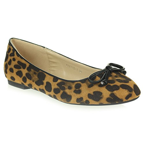 Womens Ladies Everyday Casual Comfort Leopard Print Slip on Ballerinas Ballet Pumps Flat Shoes Size Camel