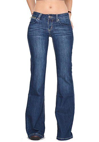 New Ladies Womens Faded Indigo 60s 70s Retro Bellbottom Flares Wide Flared Jeans US 0 (UK (Faded Flare Jeans)