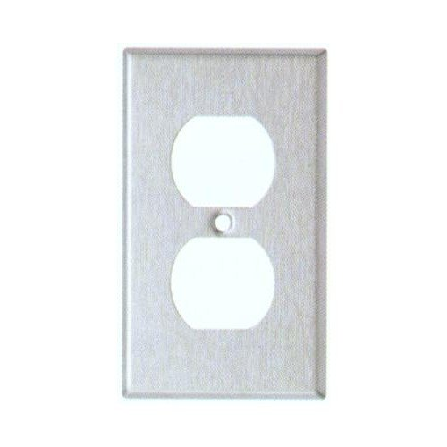 Morris 83873 304 Midsize Wall Plate, Duplex Receptacle, 1 Gang, Stainless Steel