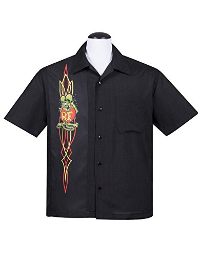 (Rat Fink Pinstripe Panel Button Up Hot Rod Character (4X))