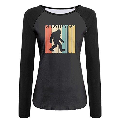 Sasquatch Bust (Woman Fashion Long Sleeve Vintage Style Sasquatch Silhouette Retro Shirt)