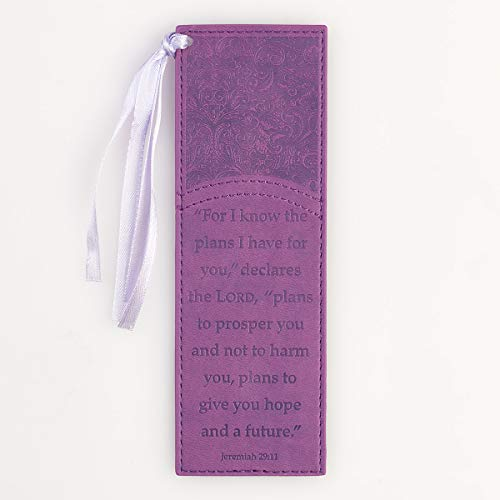 For I Know the Plans in Purple LuxLeather Pagemarker/ Bookmark - Jeremiah 29:11