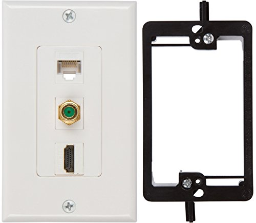 Buyer's Point HDMI 3GHz Coax Ethernet Wall Plate with Single Gang Low Voltage Mounting Bracket Device (White Kit) - Hdmi Coax