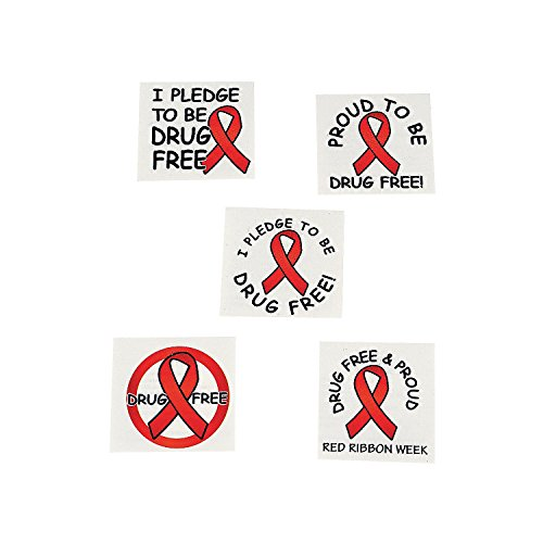 Red Ribbon Week Temporary Tattoos (72 Pieces) Drug Free & Proud! for $<!--$5.19-->