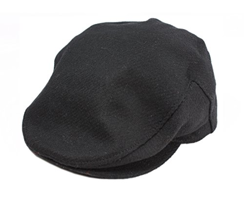 Flat Irish Hat Black Wool Tweed Made in Ireland John Hanly & Co. - Men In Tweed