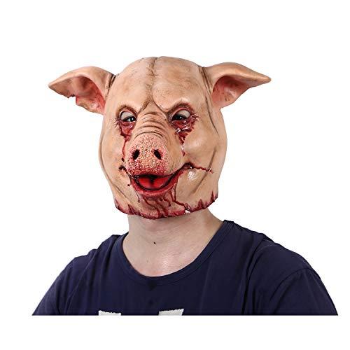 Scary Pig Halloween Costume (Horror Pig Overhead Animal Mask Latex Pig Mask Halloween Costume Scary Saw Pig Mask Full Head Horror Evil Animal)