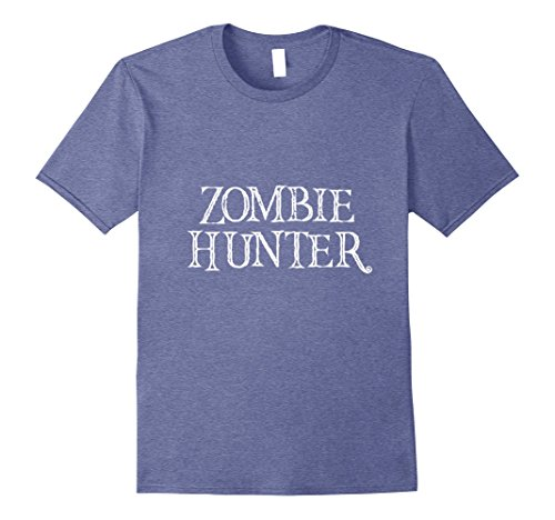 Mens Diy Scary Halloween Costumes (Mens Zombie Hunter TShirt Scary DIY Easy Halloween Costume Small Heather Blue)