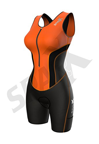 Sparx Women Triathlon Suit Tri Short Racing Cycling Swim Run (Small, Neon Orange) by Sparx Sports (Image #1)