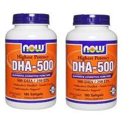 【2個セット】 [海外直送品] NOW Foods   お得サイズ   高含有DHA-500 180粒 B00DHZ65X6