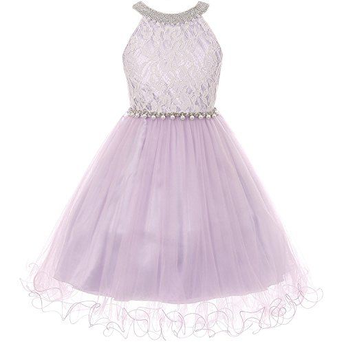Bodice Dress Halter (CrunchyCucumber Big Girls Rhinestones Simulated Pearls Halter-Neck Lace Bodice Tulle Wired Skirt Dress Lilac - Size 10)