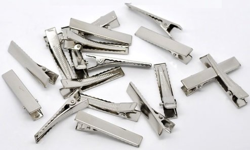 50 Pc Silver Tone Barrette Blank Hair Clips - DIY Crafts, Add Bows & Beads, Jewelry Making (40 x 8mm)