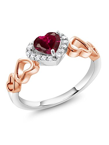 Gem Stone King 0.76 Ct Heart Shape Red Created Ruby 925 Sterling Silver and 10K Rose Gold Ring (Size -