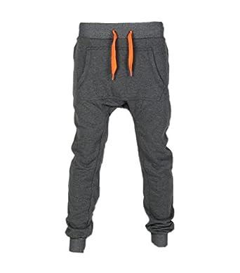 omasculin - Pantalon sarouel jogging gris foncé à poche kangourou ... 090df1cc13b