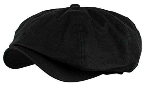 Men's Linen 8 Panel Applejack Gatsby Newsboy Ivy Hat (Black)