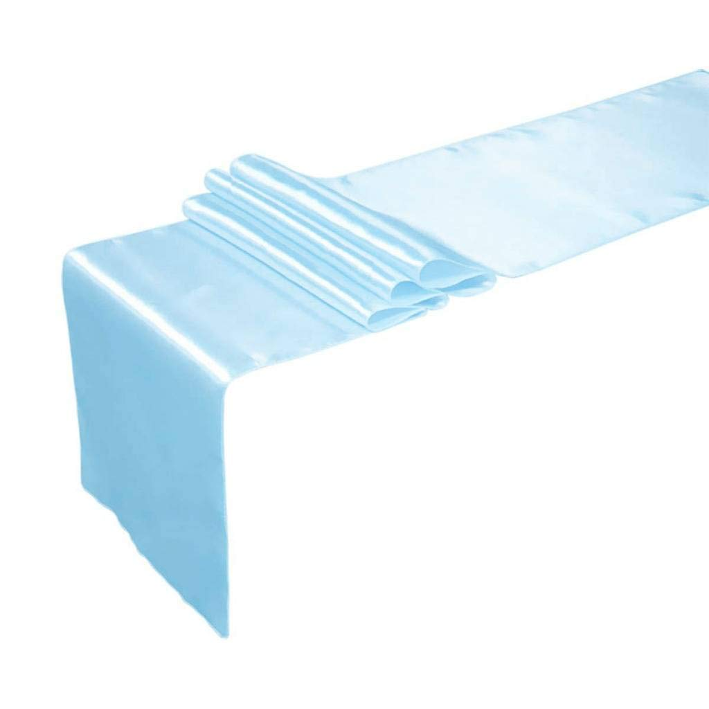 mds Pack of 10 Wedding 12 x 108 inch Satin Table Runner for Wedding Banquet Decoration- Baby Blue
