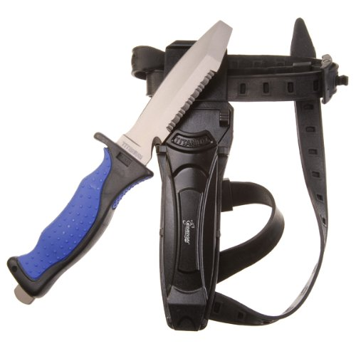 """Seavenger Titanium Knife & Knife Strap for Scuba Diving / Snorkeling Diver (4 1/2"""" Blade) Blunt Tip"""