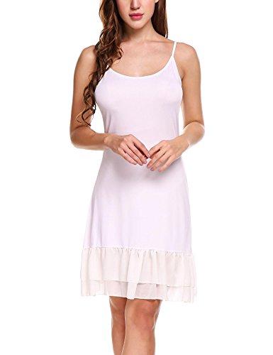 Zeagoo Women's Adjustable Spaghetti Strap Chiffon Ruffle Camisole Dress Extender,White,X-Large