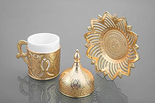Busem Gold Color Coffee Set For Six Person