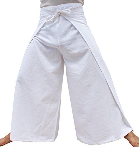 Raan Pah Muang RaanPahMuang Brand Plain Cotton Thai Drive In Wrap Around Pants Wide Cut Casual, X-Large, ()