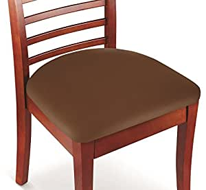 Kleeger Chair Covers Protective & Stretchable: Fits Round And Square Chairs. For Kids, Pets, Set Of 2 (Brown)