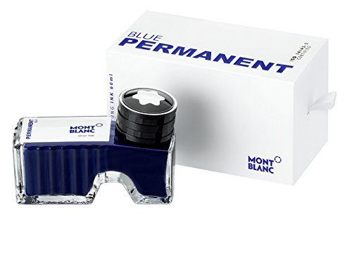 Montblanc Ink Bottle Permanent Blue 107756 - Document-Proof Refill Ink in Navy Blue for Fountain Pens, Quills, and Calligraphy Pens - 60ml Inkwell ()
