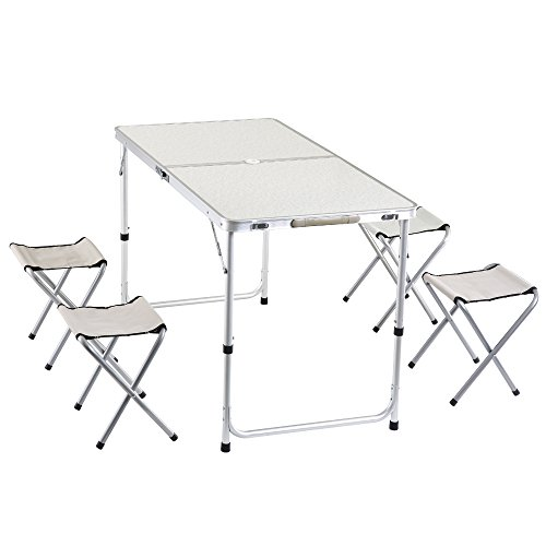 yiren Camping Outdoor Lightweight Folding Picnic Table with 4 Stools by yiren