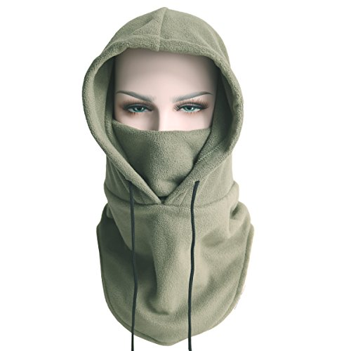 Balaclava Fleece Hood - Windproof Ski Mask - Heavyweight Cold Weather Winter Motorcycle, Ski & Snowboard Gear - Ultimate Protection from the Elements (Armygreen)