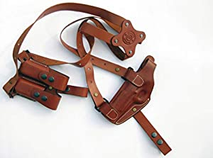 "Armadillo Holsters Left Hand Tan Leather Horizontal Shoulder Holster Miami Vice for 4""/5"" 1911 Models"