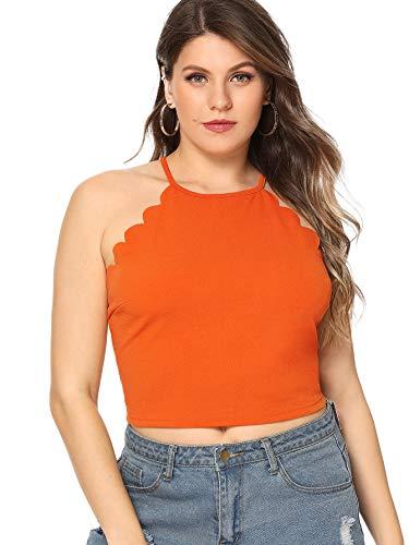 MAKEMECHIC Women's Solid Halter Neck Cami Scallop Trim Workout Crop Top Plus Orange 0XL (Trim Keyhole)